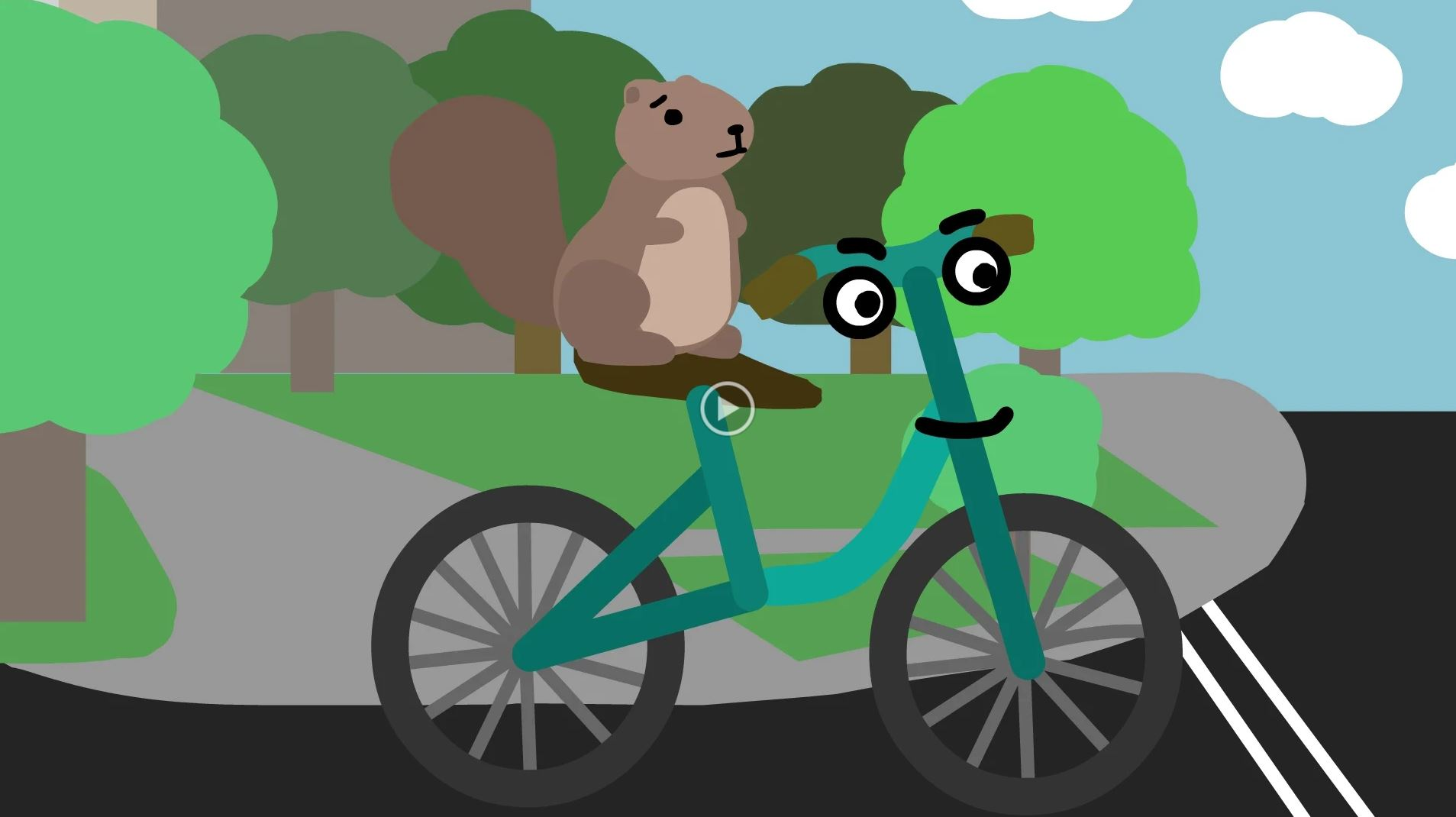 Screenshot of mascot, Merle, on bike.