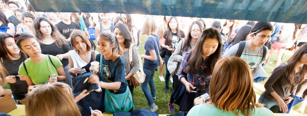 A crowd during Student Welcome.
