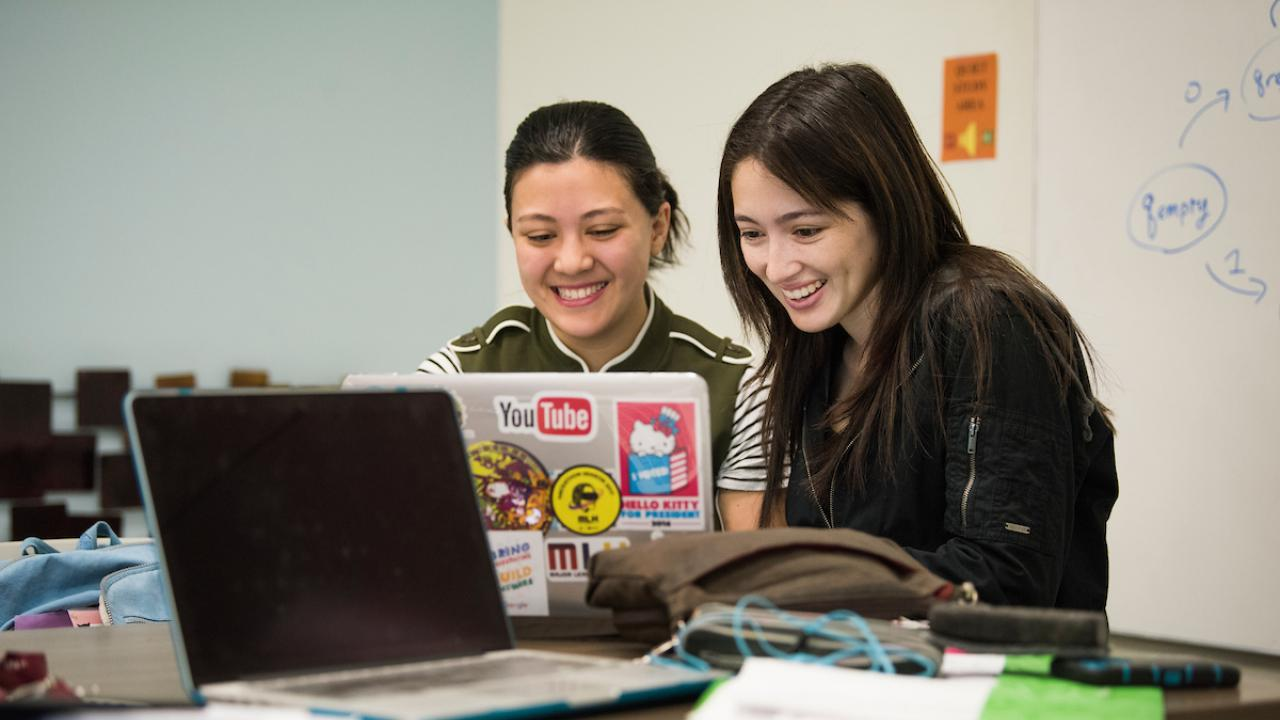 Students happily studying together.