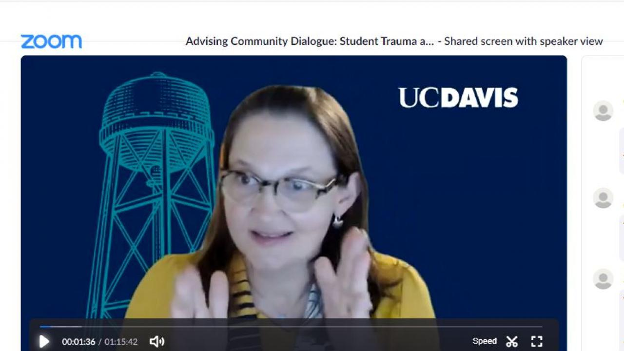Presenter, UE Vice Provost & Dean Cynthia Carter Ching, against UC Davis Zoom background