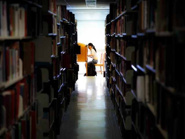 Student studying beyond library stacks.