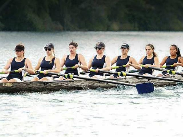 Women's rowing club on the water rowing.